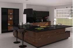 Кухня с шпонированными фасадами